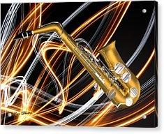 Jazz Saxaphone  Acrylic Print by Louis Ferreira