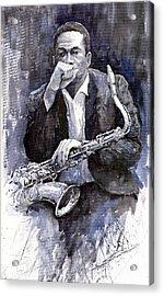 Jazz Saxophonist John Coltrane Black Acrylic Print by Yuriy  Shevchuk