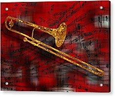 Jazz Trombone Acrylic Print by Jack Zulli