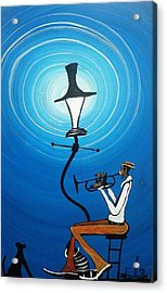 Jazz With My Dog Acrylic Print by Guilbeaux Gallery