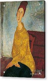 Jeanne Hebuterne In Yellow Sweater Acrylic Print by Amedeo Modigliani