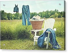 Jeans Hanging On Clothesline On A Summer Afternoon Acrylic Print by Sandra Cunningham