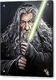 Jedi Master Gandalf Acrylic Print by Tom Carlton