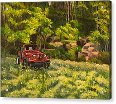 Jeep By The Bluff Acrylic Print by Janet Felts