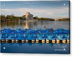 Jefferson Memorial And Paddle Boats Acrylic Print by Jerry Fornarotto