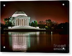 Jefferson Memorial At Night Acrylic Print by Olivier Le Queinec