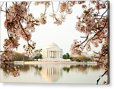 Jefferson Memorial With Reflection And Cherry Blossoms Acrylic Print by Susan  Schmitz