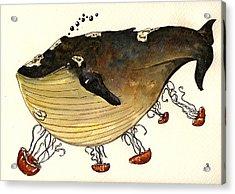 Jellyfish Tickling A Whale Acrylic Print by Juan  Bosco