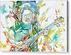 Jerry Garcia Playing The Guitar Watercolor Portrait.1 Acrylic Print by Fabrizio Cassetta