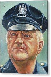 Jersey City Policeman Acrylic Print by Melinda Saminski