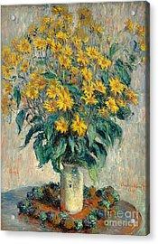 Jerusalem Artichoke Flowers Acrylic Print by Claude Monet