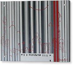 Jerusalem Black And Withe Barcode Acrylic Print by Hanna Fluk