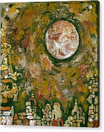 Jerusalem In Green Acrylic Print by Hanna Fluk