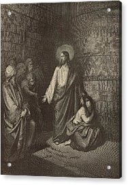Jesus And The Woman Taken Into Adultery Acrylic Print by Antique Engravings