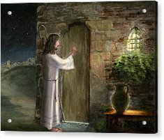 Jesus Knocking On The Door Acrylic Print by Cecilia Brendel