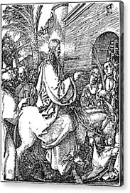 Jesus On The Donkey Palm Sunday Etching Acrylic Print by