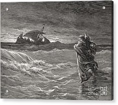 Jesus Walking On The Sea John 6 19 21 Acrylic Print by Gustave Dore