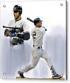 Jeter V Derek Jeter Acrylic Print by Iconic Images Art Gallery David Pucciarelli