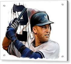 Jeter II  Derek Jeter Acrylic Print by Iconic Images Art Gallery David Pucciarelli