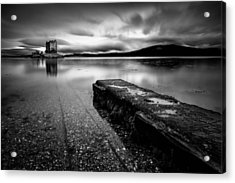 Jetty To Castle Stalker Acrylic Print by Dave Bowman