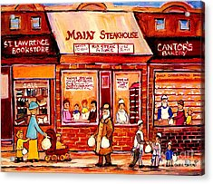 Jewish Montreal Vintage City Scenes Cantor's Bakery Acrylic Print by Carole Spandau