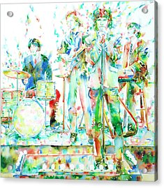 Jim Morrison And The Doors Live On Stage- Watercolor Portrait Acrylic Print by Fabrizio Cassetta