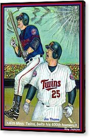 Jim Thome Hits 600th With Twins Acrylic Print by Ray Tapajna