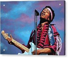 Jimi Hendrix Painting 2 Acrylic Print by Paul Meijering
