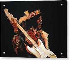 Jimi Hendrix Painting 3 Acrylic Print by Paul Meijering