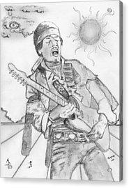 Jimi Hendrix Acrylic Print by Dan Twyman