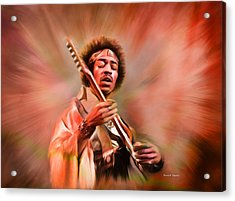Jimi Hendrix Electrifying Guitar Play Acrylic Print by Angela A Stanton