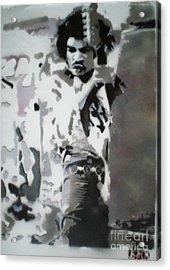 Jimi Hendrix  On Plexiglass Acrylic Print by Barry Boom