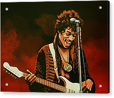 Jimi Hendrix Painting Acrylic Print by Paul Meijering