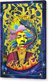 Jimi Hendrix Rainbow King Acrylic Print by Jeff Hopp