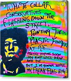 Jimi's Freak Flag Acrylic Print by Tony B Conscious