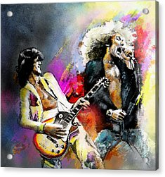 Jimmy Page And Robert Plant Led Zeppelin Acrylic Print by Miki De Goodaboom