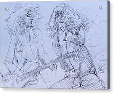 Jimmy Page And Robert Plant Live Concert-pen Portrait Acrylic Print by Fabrizio Cassetta
