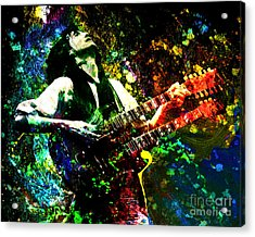 Jimmy Page - Led Zeppelin - Original Painting Print Acrylic Print by Ryan Rock Artist