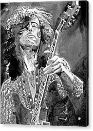 Jimmy Page Mono Acrylic Print by David Lloyd Glover