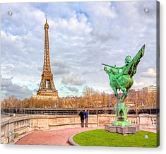 Joan Of Arc And The Eiffel Tower Acrylic Print by Mark E Tisdale