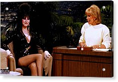 Joan Rivers And Elvira Acrylic Print by Brian Benjamin