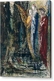 Job And The Angels Acrylic Print by Gustave Moreau