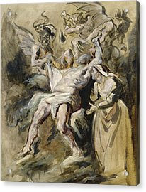 Job Tormented By The Demons Acrylic Print by Ferdinand Victor Eugene Delacroix