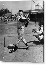 Joe Dimaggio Hits A Belter Acrylic Print by Gianfranco Weiss