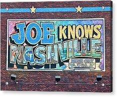 Joe Knows Nashville Acrylic Print by Frozen in Time Fine Art Photography