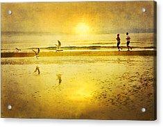Jogging On Beach With Gulls Acrylic Print by Theresa Tahara