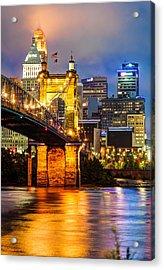 John A. Roebling Bridge - Cincinnati Ohio Acrylic Print by Gregory Ballos