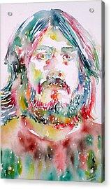 John Bonham Watercolor Portrait Acrylic Print by Fabrizio Cassetta
