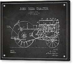 John Deer Tractor Patent Drawing From 1930 - Dark Acrylic Print by Aged Pixel