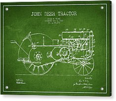 John Deer Tractor Patent Drawing From 1930 - Green Acrylic Print by Aged Pixel